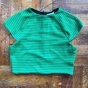 Silence&noise green&black striped top.